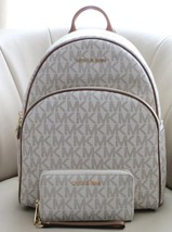 Michael Kors Abby Signature MK Lrg Vanilla Backpack & Lrg MK Wallet NWT ... - $260.87
