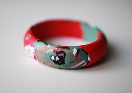 Pink green wooden bracelet hand painted Wood Gift, pink mint white flora... - $23.93