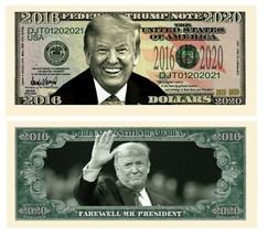 Pack of 50 - Donald Trump Farewell Presidential Novelty Dollar Bills  - $14.80