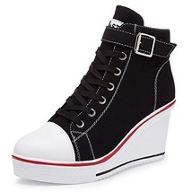 Smilety Women's Sneaker Fashion Canvas High-Heeled Shoes Lace UP Wedge P... - $38.22