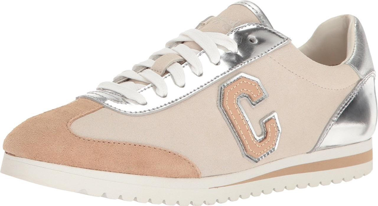 New Coach Women's Ian Mirror Metallic Suede Oxford Sneaker Shoes Silver Chalk