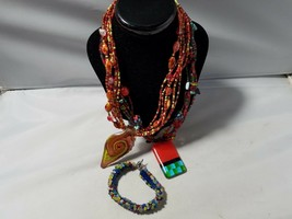 Vintage Glass Bead Necklace & Bracelet Set Merona Venetian Blown Colored... - $46.49
