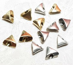 TRIANGLE FINE PEWTER BEAD - 11x11x5mm; Hole 3.5mm