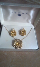 Vintage ROMAN Gold Tone Crystal Rose Flower Necklace & Pierced Earrings Set NIB - $7.60