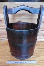 Antique Barrel Basket Bucket wooden iron vintage well rice water firkin ... - $153.67