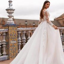 New Elegant Appliques Court Train Princess Bridal Gown Scoop Neck Full Sleeve Tu image 4