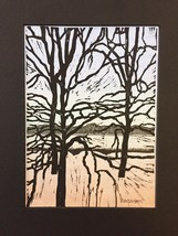 """Woodblock Print: Riverside Variation 3 (Limited Edition) Matted to 8"""" x 10"""" - $25.00"""