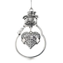 Inspired Silver Thelma Pave Heart Snowman Holiday Christmas Tree Ornament With C - €12,87 EUR