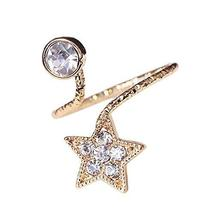 Stylish Finger Nail Ring Nail Decoration Adjustable Joint Ring, Star, Golden