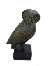 Owl sculpture ancient Greek miniature reproduction statue on marble - $59.90