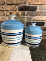 "Linen'nThings Crramic Blue Stripped Canister Food Storage Jars,H10""&8"" D... - $21.78"
