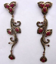 Victorian 3.53ct Rose Cut Diamond Ruby Lovely Engagement Cute Earrings - $399.25