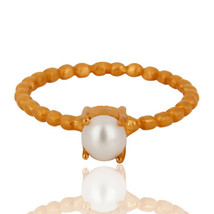 18K Gold Plated Silver Natural Pearl Prong Set Stack Ring Designer Jewelry - $10.96