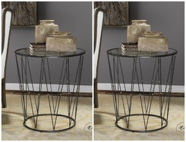 "TWO 26"" DRUM CAGE STYLE METAL ACCENT END TABLE IRON FINISH BEVELED GLASS... - $875.60"