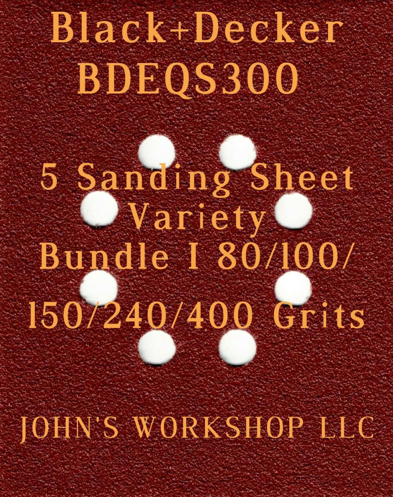 Primary image for Black+Decker BDEQS300 - 80/100/150/240/400 Grits - 5 Sandpaper Variety Bundle I