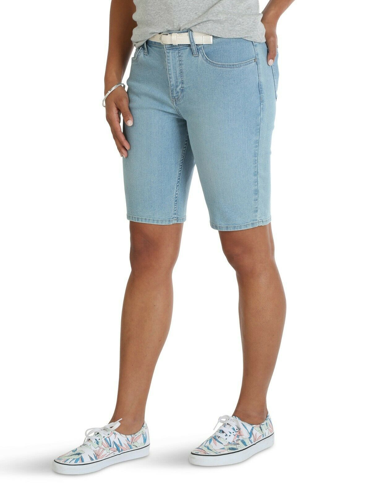 Primary image for Lee Riders Women's Belted Bermuda Shorts Denim Jeans Falling Star Pocket Size 6