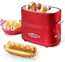 Nostalgia HDT600RETRORED Pop-Up 2 Hot Dog and Bun Toaster With Mini Tong... - £19.33 GBP