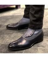New Men's Handmade Ankle High Button Cap Toe Dress Boot, Black Grey Leat... - $169.99+