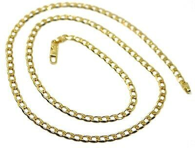 "SOLID 18K GOLD GOURMETTE CUBAN CURB LINKS CHAIN 4mm, 24"", STRONG BRIGHT NECKLACE"