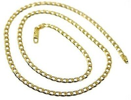 "SOLID 18K GOLD GOURMETTE CUBAN CURB LINKS CHAIN 4mm, 24"", STRONG BRIGHT NECKLACE image 1"