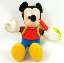 "Disney Mickey Mouse 8"" Plush Backpack Clip Orange Stretch Cord Fisher Pr... - $9.74"