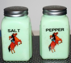 Jadeite Salt and Pepper Shakers Cowboy Riding Horse Decorations - £27.18 GBP