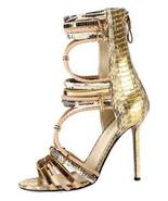 Sergio Rossi Gold Python Gladiator Sandal Pump Heel Shoe 37 - 6.5 - $293.99
