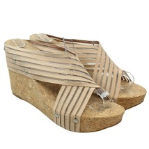 LUCKY BRAND Miller 2 Womens Sz 7.5 Beige Mesh Criss Cross Cork Wedge San... - $28.70