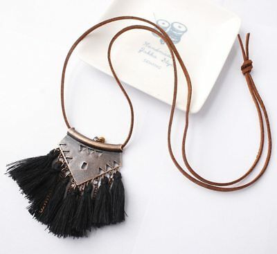 Women Statement Retro Ethnic Bohemian Necklace Tassel Choker Collar Jewelry Gift