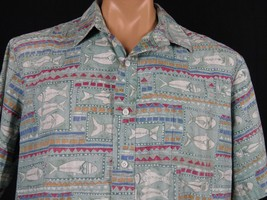 Coral Reef Hawaiian Shirt Mens XL Stylized Tuna Fish Pattern Made in Hawaii - $14.01