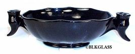 Fostoria Black Glass Large Combination Bowl Attached Viking Horn Candleh... - $44.99