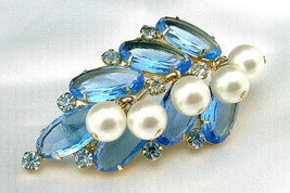 Vintage Juliana D&E Blue Rhinestone and Dangling Faux Pearl Leaf Brooch - $150.00