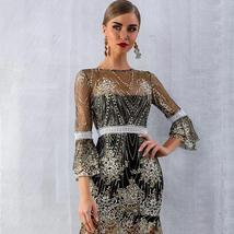 Women's Brand Fashion Lace Sequin  Black Half Sleeve Party Dress image 3