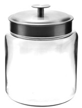 Anchor Hocking Montana Glass Jars with Fresh Sealed Lids, Brushed Metal,... - $51.94