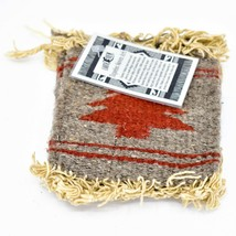 Handmade Zapotec Indian Weaving Hand-Woven Pine Tree Gray Wool Coaster Set of 4 image 2