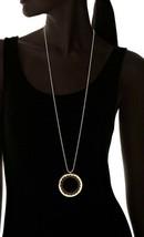 "Lena Bernard 36"" Long Rosewood & Brass Hamma Pendant Ball Chain Necklace NWT image 2"