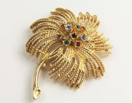Estate Vintage Jewelry Sarah Coventry Colorful Rhinestone Flower Brooch - $10.00