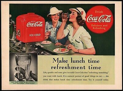 Primary image for Vintage magazine ad COCA COLA from 1939 Make lunch time women and dispenser pics