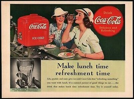 Vintage magazine ad COCA COLA from 1939 Make lunch time women and dispen... - $11.69