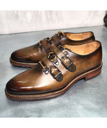 Men's Handmade Latest Style Unique Straps Dress Shoes, Genuine Leather s... - $179.97+