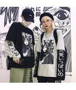 Harajuku letter print patchwork fake two-piece sweatshirt - $23.99