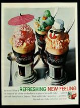 Vtg 1964 Coke Coca Cola ice cream float retro advertisement print ad art - $8.90
