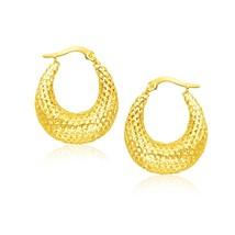 14k Yellow Gold Mesh Style Graduated Hoop Earrings - $195.63