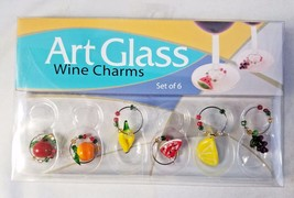 Art Glass Fruit Wine Charms Handcrafted set of 6 LS Arts Inc. New in Box - $14.84