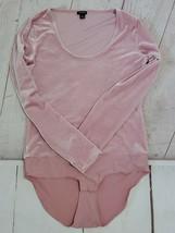 J Crew Jeans Pink Velvet Body Suit Medium Snaps Panties  Scoop Neckline - $47.52