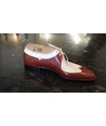 Men Handmade Two Tone Wing Tip & Brogue shoes, Men White & Brown Formal ... - $179.97+