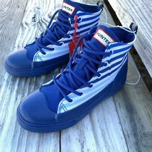 Hunter for Target Kids Dipped Canvas High Top Sneakers Sz 3 Blue Stripe ... - $22.56