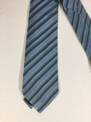 Alfani Men Light Blue Tie Silk Black Striped Size 58 Length 3 Inches width image 5
