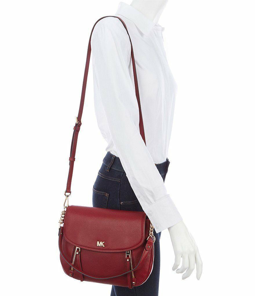 03655adf56fb 57. 57. Previous. NWT Michael Kors Evie Medium Pebbled Leather Flap  Shoulder Bag in Maroon