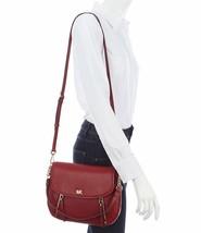 NWT Michael Kors Evie Medium Pebbled Leather Flap Shoulder Bag in Maroon - $219.00